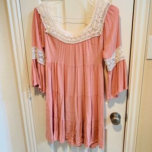 Pink Boho Dress! Worn Once!